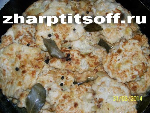 Куриные оладьи из кусочков филе с майонезом