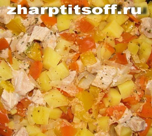 Рагу из куриной вырезки перец, помидор
