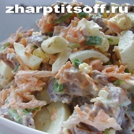 Салат с курицей, овощами, яйцами Радостный. Салат курица морковь.
