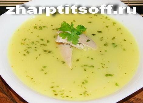 Суп густой из мяса домашней птицы по-грузински. Куриный суп, яйца.