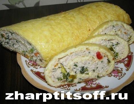 Курица, сырным пластом завернутая, запеченная