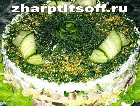 Салат запеченная индюшка, ветчина, грибы. Мясной салат сытный.