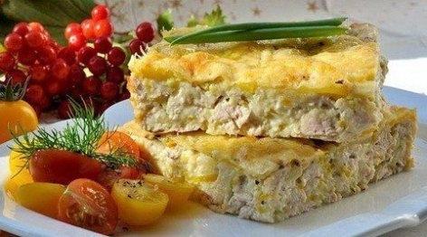 Пирог Утренний с курицей, сыром