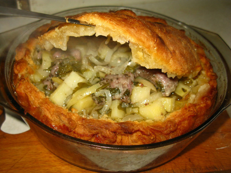 Бэлиш с уткой, картошкой. Выпечка татарской кухни.